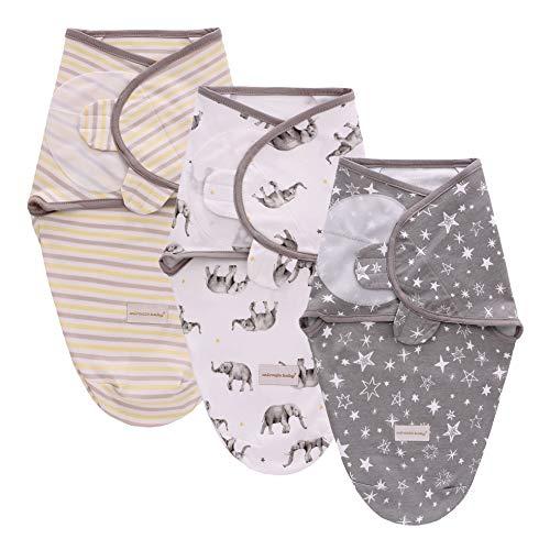 3PC Swaddle Blanket,Swaddle Wrap Manta Envolvente para Bebé,Swaddle Wrap 100% Algodón,Mantas Arrullo Para Recién Nacidos-L