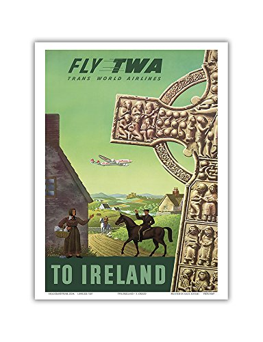 to Ireland - Fly TWA (Trans World Airlines) - Celtic Cross - Vintage Airline Travel Poster by S. Greco c.1950s - Master Art Print 9in x 12in