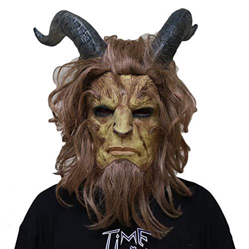 XBYUK Schöne Und Biest Cosplay Maske Halloween Maskerade Kopf Cosplay Filmkostüm Requisiten Biest Prinz Latex Kopfbedeckung Maske , One Size