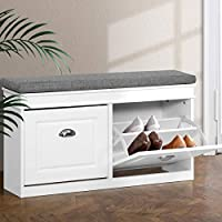 Artiss 12 Pairs Shoe Cabinet Rack with Bench Seat, White
