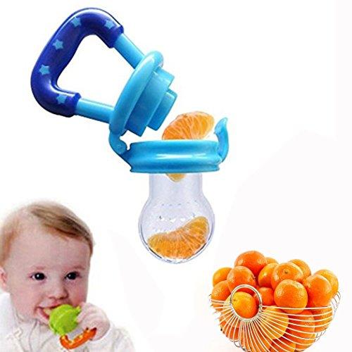 XLKJ Frutta Ciuccio,Ciuccio Alla Frutta per Neonati Silicone Cibo Alimentatore(Blu)