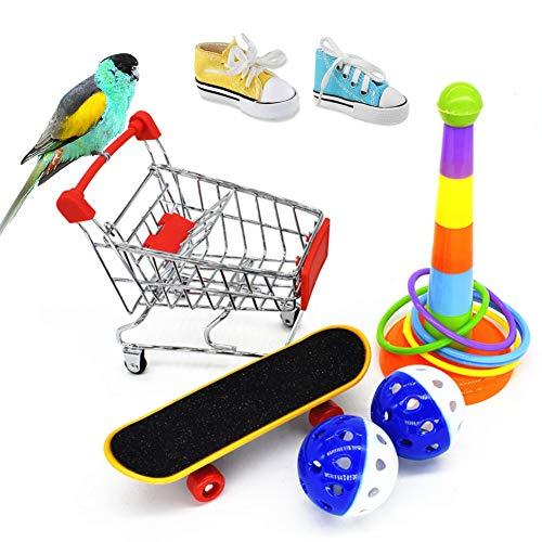 8 piezas juguete para loros, mini monopatín, cesta de la compra, carrito de la compra, Bell Ball Férula, accesorios para jaula de pájaros, juguete para veterinario, juguete de periquitos
