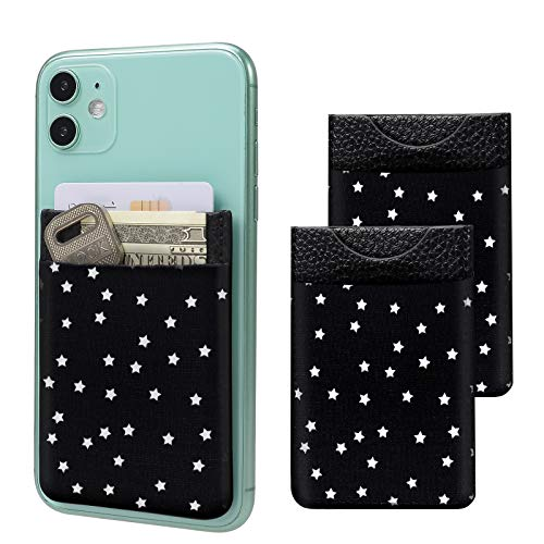SHANSHUI Cell Phone Wallet, 2 Pack PU Leather Stick on Wallet Elastic Credit Card Holder for Back of Phone Pocket Pouch for All Most Smartphones (Black Stars)