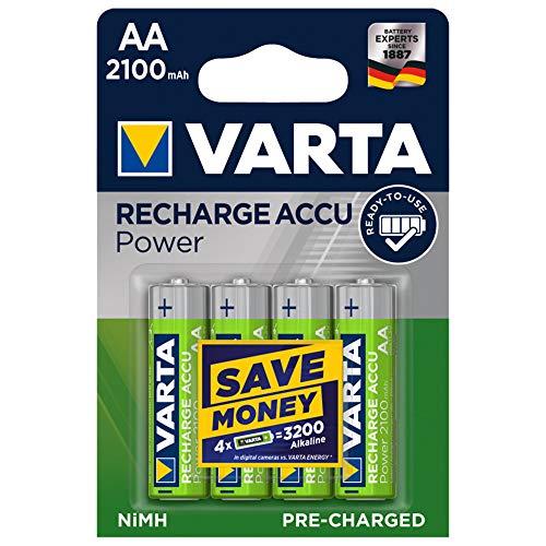 Varta Rechargeable Accu Ready2Use AA-Mignon Ni-Mh-accu (4-pack. 2100 mAh), oplaadbaar zonder geheugeneffect - direct klaar voor gebruik