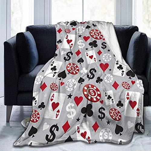 HDAXIA Manta,Poker Casino Impreso, Franela ultrasuave, cálida, Ligera y acogedora, Manta de Felpa, Ajuste sofá Cama sofá Silla Adultos y niños 80