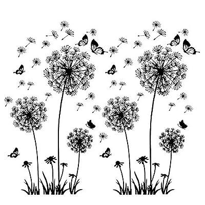 ♥ Volumen de suministro: 2 juegos de pegatinas de pared con diseño de moscas de diente de león en el viento Tamaño: 160 x 130 cm, el efecto de la imagen varía según la disposición de los elementos. Puede colocar las semillas y mariposas que vuelan li...