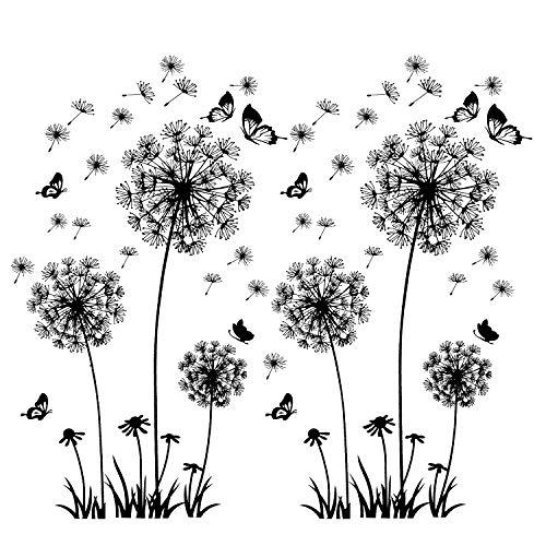 2 calcomanías de pared negras con dientes de león para decoración de paredes, XXL grandes flores león plantas pegatinas adhesivas, murales para sala estar dormitorio antesala pasillo ventana 165x130cm