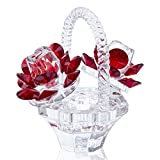 H&D HYALINE & DORA Crystal Red Rose Flower Basket Crystal Collectible Figurines Ornaments for Home Decor Table Centerpiece
