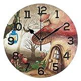 Fantastic Fairy Casa de Setas en el Bosque Oscuro Reloj de Pared Redondo PVC silencioso sin tictac para decoración del hogar Dormitorio Cocina Escuela Oficina