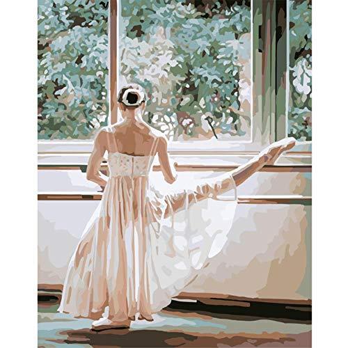JKVDJS sans Cadre DIY Ballet Danse Fille Arcylique Peinture par Numéros sur Toile Mur Photos pour Salon Décoration De La Maison, G, 40X50 Cm Aucun Cadre