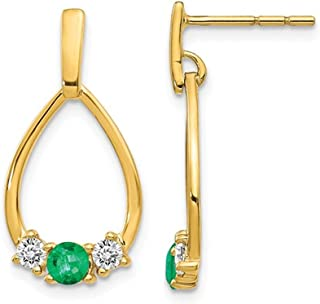 2/5 Carat (ctw) Natural Green Emerald Earrings with Synthetic White Sapphires in 14K Yellow Gold