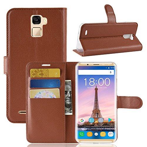 TenYll Oukitel K5000 Wallet Tasche Hülle, PU Schutzhülle [Premium Leder] [Ultra Slim] [Card Slot] [Ständer] Flip Wallet Hülle Etui für Oukitel K5000 -Braun