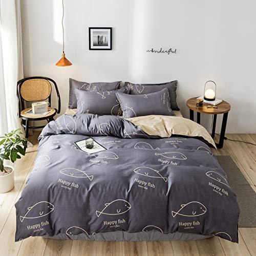 MMHJS Europäische Mode Einfache Bettbezug-Kit 4 Stück Set Bettdecke Decke Kissenbezug Waschbare Bettwäsche