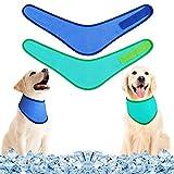2 Pieces PetSelfCoolingBandanaDog Ice Bandana DissipationTriangleScarfsKerchiefs Dog Cat Ice Collar for Summer (Blue, Green)