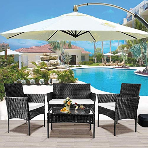 nozama Rattan 4 Piece Outdoor Furniture Backyard Conversation Set for Garden Rattan Patio Sets with 2 Single Armchairs 1 Loveseat 1 Table (Black)