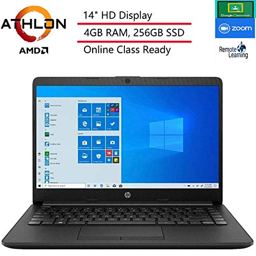 (Renewed) HP 14 14' Laptop Computer, AMD Athlon 3050U Up to 3.2GHz (Beat i3-7130U), 4GB DDR4 RAM, 256GB SSD, HDMI, Black, Windows 10 Home S, Online Class Ready, Webcam, Microphone, SPMOR Mouse Pad
