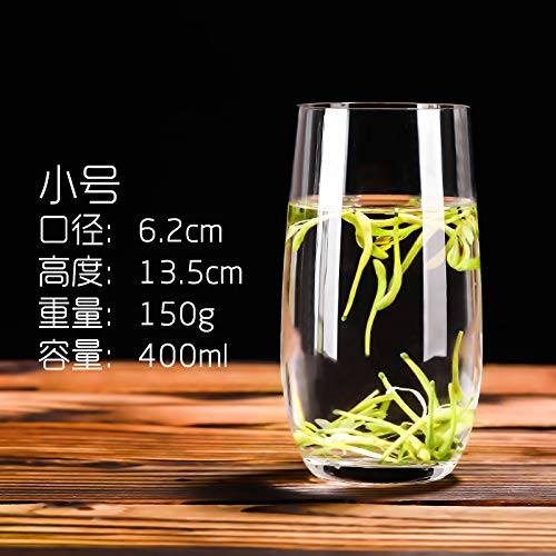 FEJK sans Plomb Transparent résistant à la Chaleur jus de Verre en Cristal Boire Verre de Lait Domestique Tasse de Petit déjeuner 400ml Trompette