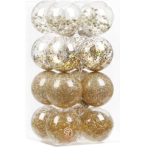 Sea Team 100mm/3.94' Shatterproof Clear Plastic Christmas Ball Ornaments Decorative Xmas Balls Baubles Set with Stuffed Delicate Decorations (16 Counts, Gold)