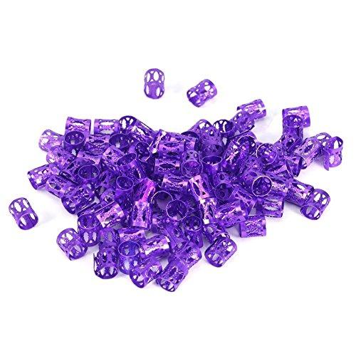 Tube de tresse de cheveux, poignets en aluminium de perles de dreadlocks,tube de cheveux multicolore mixte,tube de décoration en filigrane,décoration en filigrane(Violet)