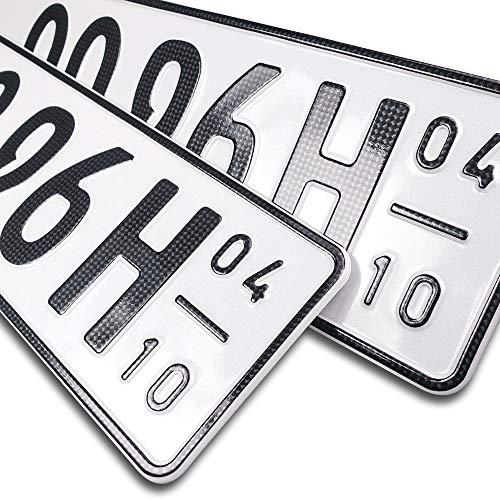schildEVO 2 Carbon Kfz Kennzeichen | Saison + Historisch | Oldtimer | H | OFFIZIELL amtliche Nummernschilder | DIN-Zertifiziert – EU Wunschkennzeichen mit individueller Prägung | Autokennzeichen