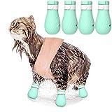 ASOCEA - 4 zapatos antiarañazos para pies de gato de silicona para mascotas, aseo de mascotas, protección contra arañazos y garras de gato, cubierta para baño en casa