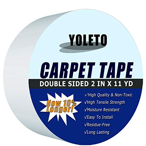 Double Sided Carpet Tape for Area Rugs,Heavy Duty Sticky Adhesive Rug Gripper for Hardwood Floors,Outdoor Rugs,Pads,Mats,Stair Treads Non-Slip (2 Inch x 11Yards)