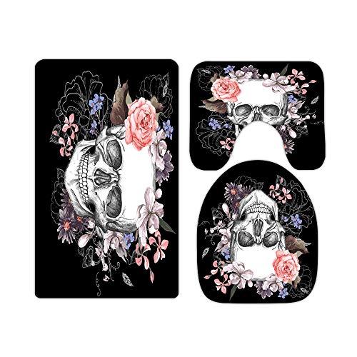 Cartoon Floral Sugar Skull and Rose Bathroom Rugs and Mats Sets 3 Piece, Memory Foam Bath Mat, U-Shaped Contour Shower Mat Non Slip Absorbent, Velvet Toilet Lid Cover Washable