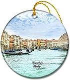 Italia Canal Grande Venezia Adornos redondos de cerámica de 2,8 pulgadas Pandent para amigos de familia