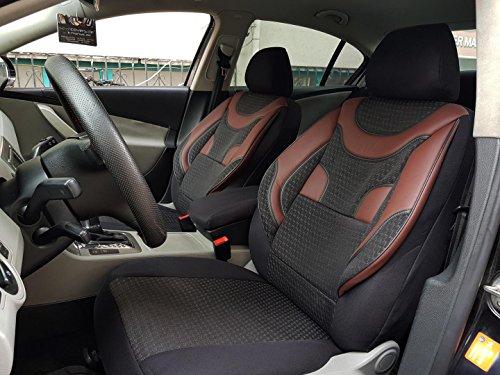 seatcovers by k-maniac V331542 Sitzbezüge für Daihatsu Materia Universal Autositzbezüge Set Vordersitze Autozubehör Innenraum Kfz Tuning Sitzschoner, schwarz-dunkelrot-braun