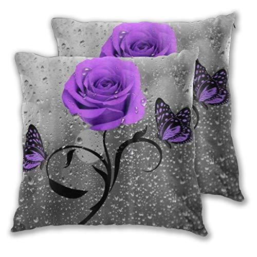 ALLMILL Federe Cuscino 50x50cm,2 Pezzi Viola Rose Fiore Farfalle Grigio Floreale Bello Elegante Decorativo per Auto Sofà Divano Ufficio Salotto Home Decor