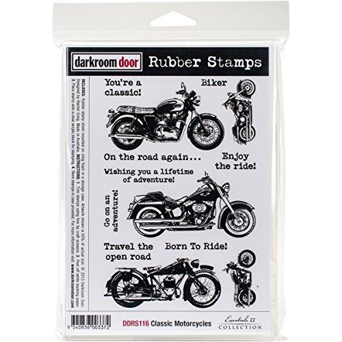 Darkroom Door Cling Stamps 7 x 5-inch Classic Motorcycle, 0.65 x 5.9 x 8.65 cm, Multicoloured