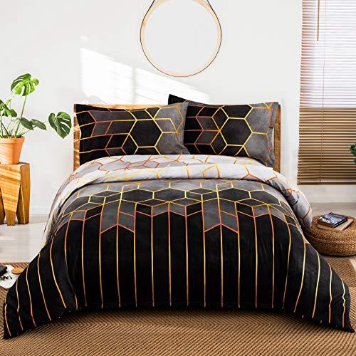Geometric Diamond Duvet Cover Golden Stripes Soft Bedding Duvet Cover Set,...