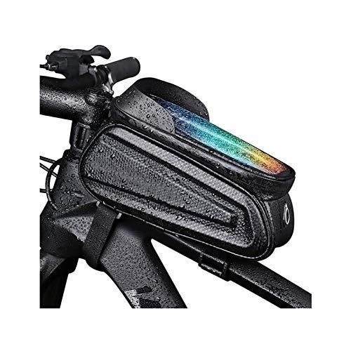 RAZIGI Tenedor de teléfono de Bicicleta: Manillar de Tubo Superior de Bicicleta a Prueba de Agua con Bolsa antirreflejo Reflectante, Adecuado para Bicicleta de montaña Plegable ( Color : Black )