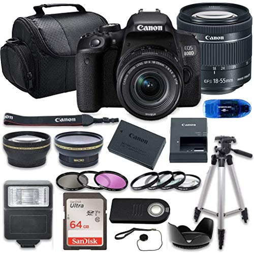 Canon EOS 800D (Rebel T7i) DSLR Camera Bundle with 18-55mm STM Lens + 64GB Memory Card + Accessory Kit