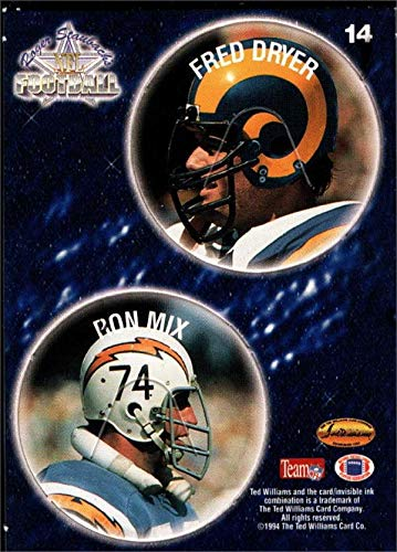 Ron Mix & Fred Dryer football card (Chargers, Rams) 1994 Ted Williams Card Co. Pogs #14
