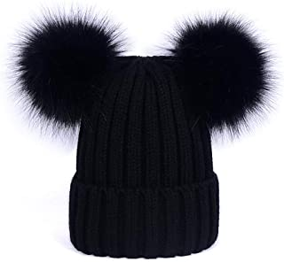 Womens Double Pom Pom Winter Bobble Hat Knitted Faux Raccoon Fur Ball Cap Adult Beanie Hat
