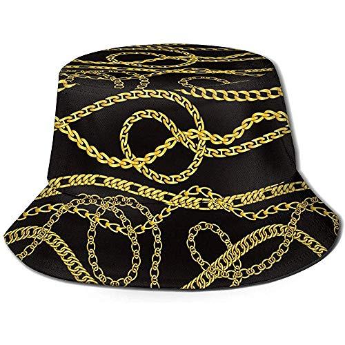 Cadenas y Collares de Oro Sombrero de Cubo Verano UV Sol Pescador...