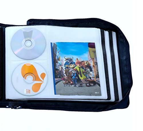 DVD CD Storage Case with Extra Wide Title Cover Pages for Blu Ray Movie Music Audio Media Disk (Portable Carrying Binder Holder Wallet Album Home Organizer)- Blue, 128 disk units, 64 booklet pockets
