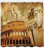 Concepto del Imperio Romano Columnas Famosas Escultura Coliseo Mapa De La NacióN Juego De DecoracióN De BañO De Tela...