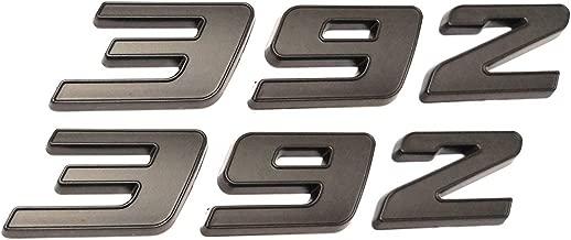 2pcs 392 Emblem Badge ABS Decal 3D Logo Replacement for Hemi Challenger Chrysle 300c (Black)