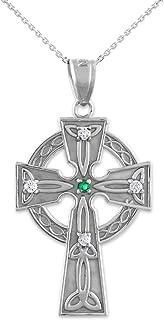 14k White Gold Celtic Trinity Diamond Cross Pendant Necklace with Emerald
