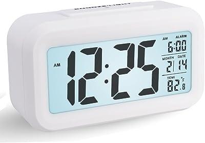 Reloj Despertador Digital, Arespark Reloj Despertador Inteligente Simple y Silencioso con Pantalla de Fecha y