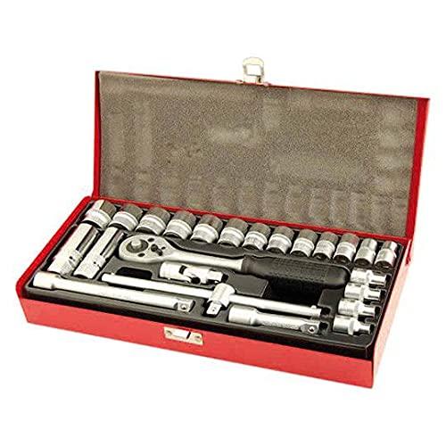 Motodak Outil Coffret de Douilles Chrome/Vanadium 3/8 6 pans de 6mm a 22 mm (24 Pieces)