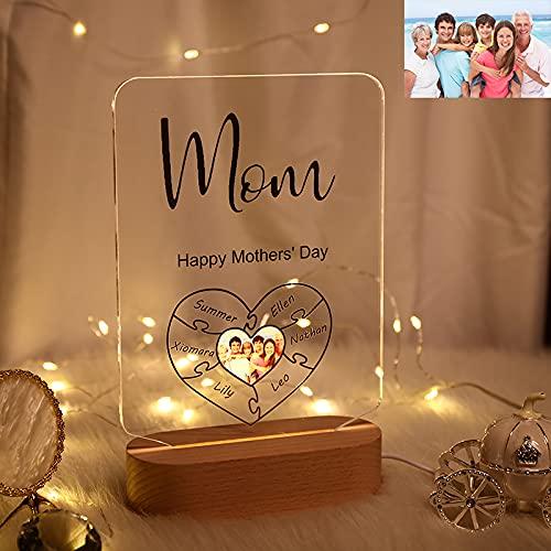 Lampada 3D personalizzata fotografica Nome personalizzato Puzzle con cuore con nome della famiglia Luce notturna in acrilico con base in legno, per Natale Compleanno Festa della mamma Festa del papà