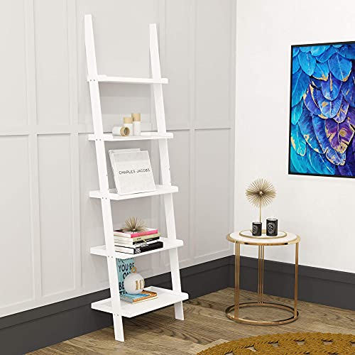 Charles Jacobs Ladder Shelf 5 Tier leaning Storage Bookcase Unit - Wh