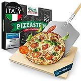 Pizza Divertimento - [Das Original - Pizzastein für Backofen & Gasgrill – Mit Pizzaschieber – Vergleich.org ausgezeichnet - Pizza Stein aus Cordierit – Für knusprigen Boden & saftigen Belag
