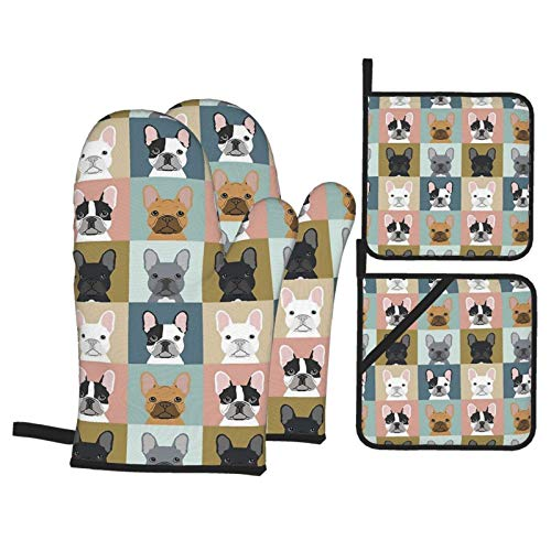 Cute French Bulldogs Oven Mitts and Pot Holders Sets of 4,Resistant Hot Pads with Polyester Non-Slip BBQ Gloves for Kitchen,Cooking,Baking,Grilling
