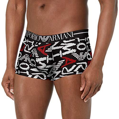 Emporio Armani Underwear Mens All Over Graphic Trunks, EA Logo Black, S
