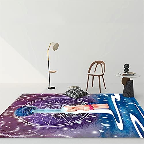 MMHJS Mobiliario para El Hogar Western 12 Constellation Girls Dormitorio Alfombra Grande Totalmente Cubierta Alfombra Grande Rectangular De Dibujos Animados Suave Y Cómoda 100x200cm