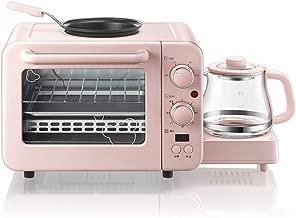 JINJN 3-in-1 Multifunction Breakfast Hub Retro Pink Family Size Breakfast Station(Toaster Oven, Griddle, Coffee Maker)